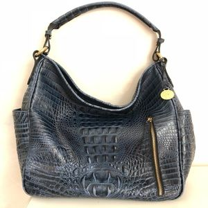 Brahmin Blue Crocodile Leather Candace Bag